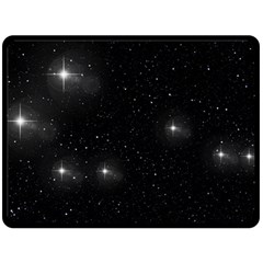 Starry Galaxy Night Black And White Stars Double Sided Fleece Blanket (large)