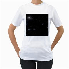 Starry Galaxy Night Black And White Stars Women s T Shirt (white)