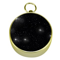 Starry Galaxy Night Black And White Stars Gold Compasses