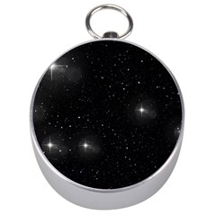 Starry Galaxy Night Black And White Stars Silver Compasses