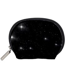 Starry Galaxy Night Black And White Stars Accessory Pouches (small)