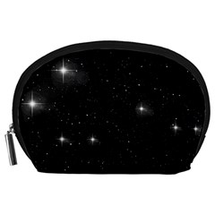 Starry Galaxy Night Black And White Stars Accessory Pouches (large)