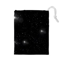 Starry Galaxy Night Black And White Stars Drawstring Pouches (large)