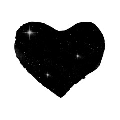 Starry Galaxy Night Black And White Stars Standard 16  Premium Flano Heart Shape Cushions