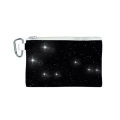 Starry Galaxy Night Black And White Stars Canvas Cosmetic Bag (s)