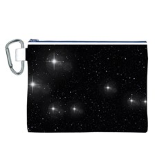 Starry Galaxy Night Black And White Stars Canvas Cosmetic Bag (l)