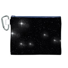 Starry Galaxy Night Black And White Stars Canvas Cosmetic Bag (xl)