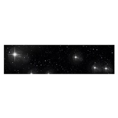 Starry Galaxy Night Black And White Stars Satin Scarf (oblong)