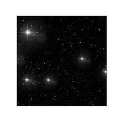 Starry Galaxy Night Black And White Stars Small Satin Scarf (square)