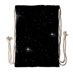 Starry Galaxy Night Black And White Stars Drawstring Bag (large)