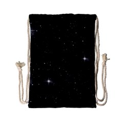 Starry Galaxy Night Black And White Stars Drawstring Bag (small)