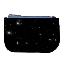 Starry Galaxy Night Black And White Stars Large Coin Purse