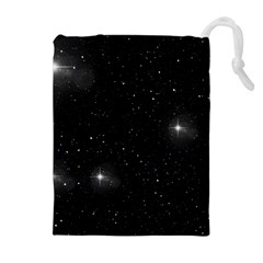 Starry Galaxy Night Black And White Stars Drawstring Pouches (extra Large)