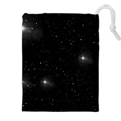 Starry Galaxy Night Black And White Stars Drawstring Pouches (xxl)
