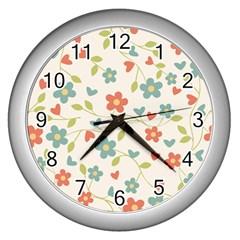 Abstract Art Background Colorful Wall Clocks (silver)