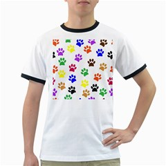 Pawprints Paw Prints Paw Animal Ringer T Shirts
