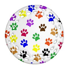 Pawprints Paw Prints Paw Animal Ornament (round Filigree)