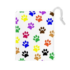 Pawprints Paw Prints Paw Animal Drawstring Pouches (large)