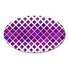 Pattern Square Purple Horizontal Oval Magnet