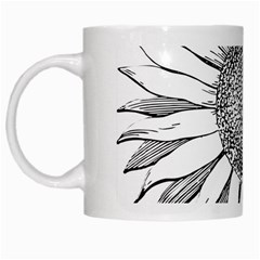 Sunflower Flower Line Art Summer White Mugs