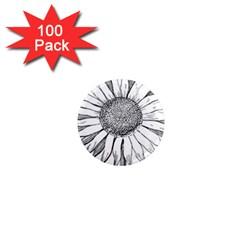 Sunflower Flower Line Art Summer 1  Mini Magnets (100 Pack)