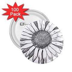 Sunflower Flower Line Art Summer 2 25  Buttons (100 Pack)