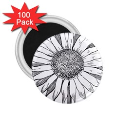 Sunflower Flower Line Art Summer 2 25  Magnets (100 Pack)