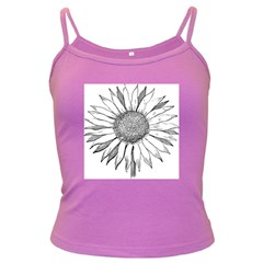 Sunflower Flower Line Art Summer Dark Spaghetti Tank