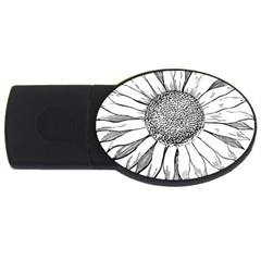 Sunflower Flower Line Art Summer Usb Flash Drive Oval (4 Gb)