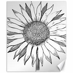 Sunflower Flower Line Art Summer Canvas 8  X 10
