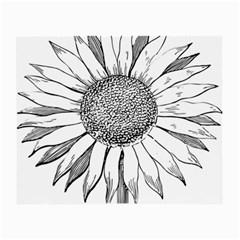 Sunflower Flower Line Art Summer Small Glasses Cloth (2 Side)