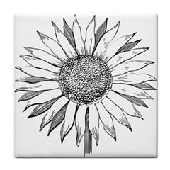 Sunflower Flower Line Art Summer Face Towel