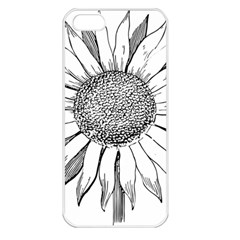 Sunflower Flower Line Art Summer Apple Iphone 5 Seamless Case (white)