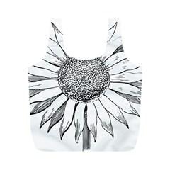 Sunflower Flower Line Art Summer Full Print Recycle Bags (m)