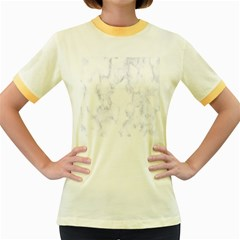 Marble Texture White Pattern Women s Fitted Ringer T Shirts
