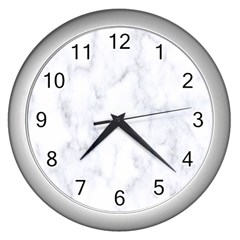 Marble Texture White Pattern Wall Clocks (silver)