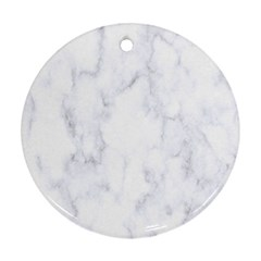 Marble Texture White Pattern Round Ornament (two Sides)