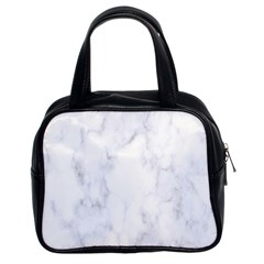 Marble Texture White Pattern Classic Handbags (2 Sides)