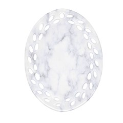 Marble Texture White Pattern Oval Filigree Ornament (two Sides)