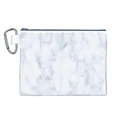 Marble Texture White Pattern Canvas Cosmetic Bag (l)