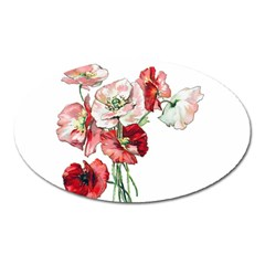 Flowers Poppies Poppy Vintage Oval Magnet