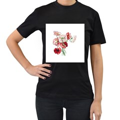 Flowers Poppies Poppy Vintage Women s T Shirt (black) (two Sided)