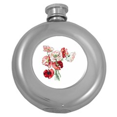 Flowers Poppies Poppy Vintage Round Hip Flask (5 Oz)