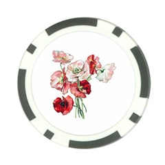 Flowers Poppies Poppy Vintage Poker Chip Card Guard (10 Pack)