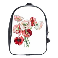 Flowers Poppies Poppy Vintage School Bag (large)