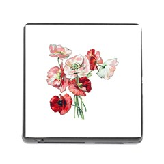 Flowers Poppies Poppy Vintage Memory Card Reader (square)
