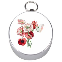 Flowers Poppies Poppy Vintage Silver Compasses