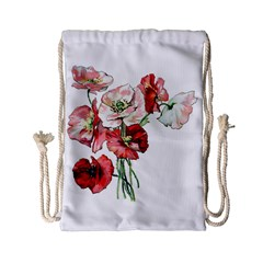 Flowers Poppies Poppy Vintage Drawstring Bag (small)