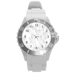 White Background Pattern Tile Round Plastic Sport Watch (l)