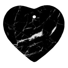 Black Texture Background Stone Heart Ornament (two Sides)
